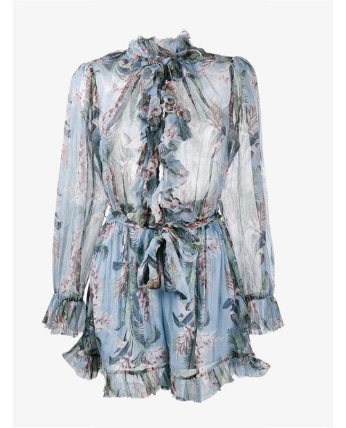 Zimmermann 'Winsome' Floral Print Ruffle Playsuit $813