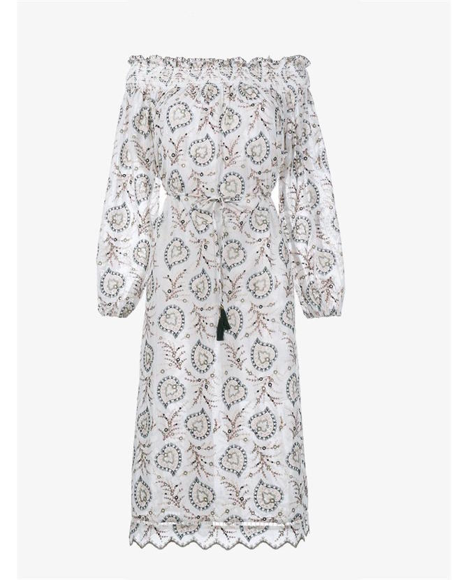 Zimmermann Floral Embroidery Off-Shoulder Dress $606