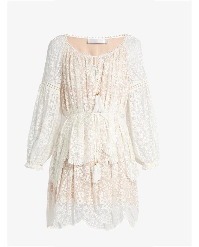 Zimmermann Gossamer Scallop Short Dress $850