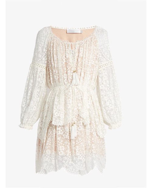 Zimmermann Gossamer Scallop Short Dress $850