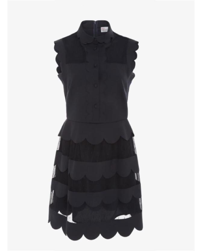 REDValentino Sleeveless Scalloped Dress $895