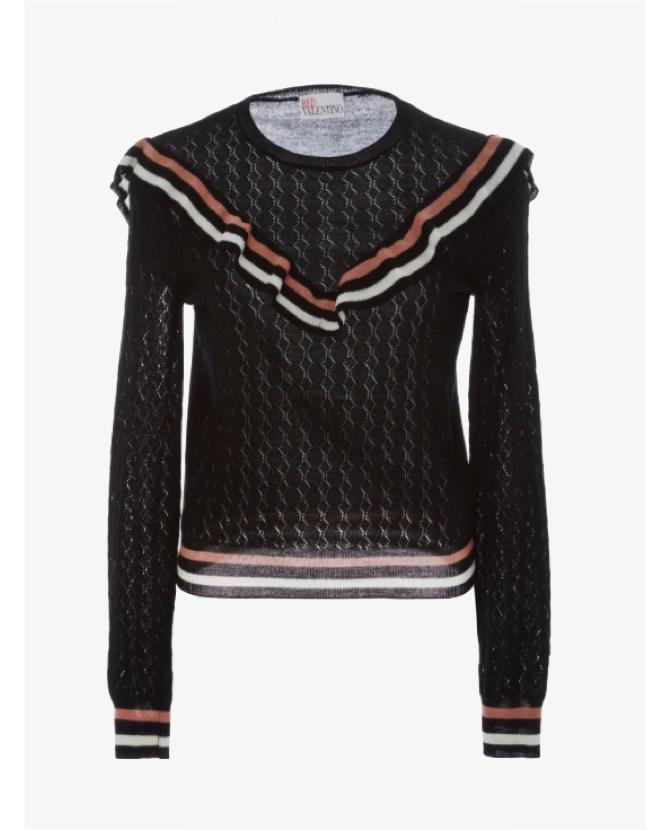 REDValentino Ruffle Eyelet Sweater $550