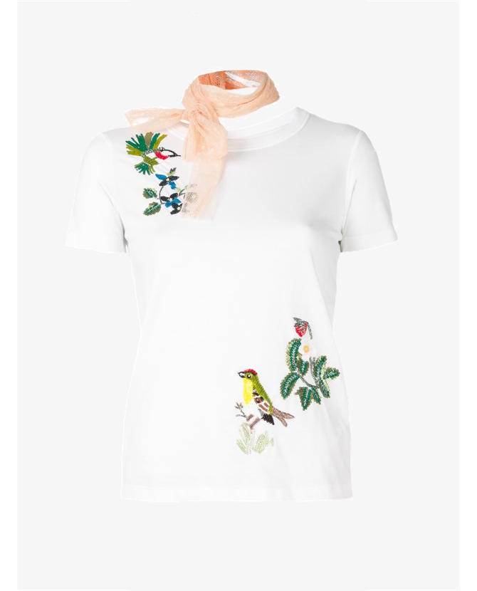 White cotton dotted tulle-collar T-shirt from Red Valentino.