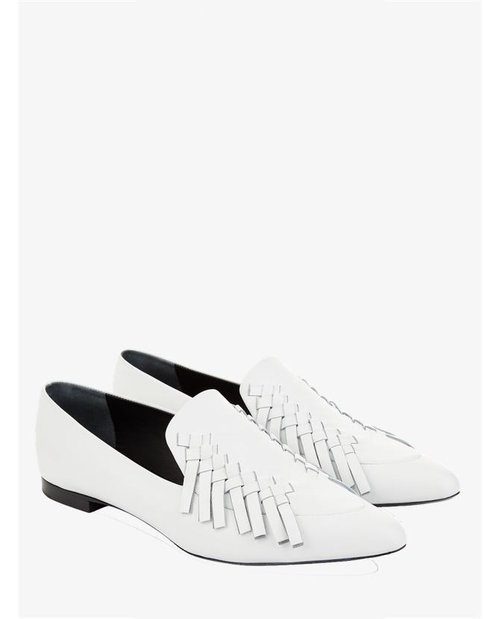 Proenza Schouler White leather woven loafers $740