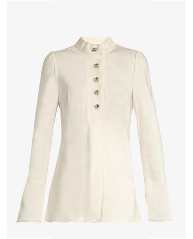 Proenza Schouler Bell-sleeved satin blouse $887