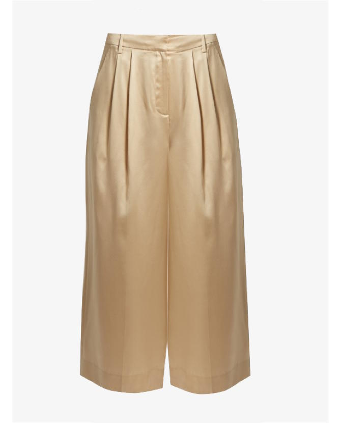 Tibi Mid-rise wide-leg cropped silk-satin trousers $518
