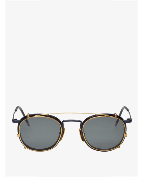 Thom Browne Navy & Gold Clip-On Sunglasses $592