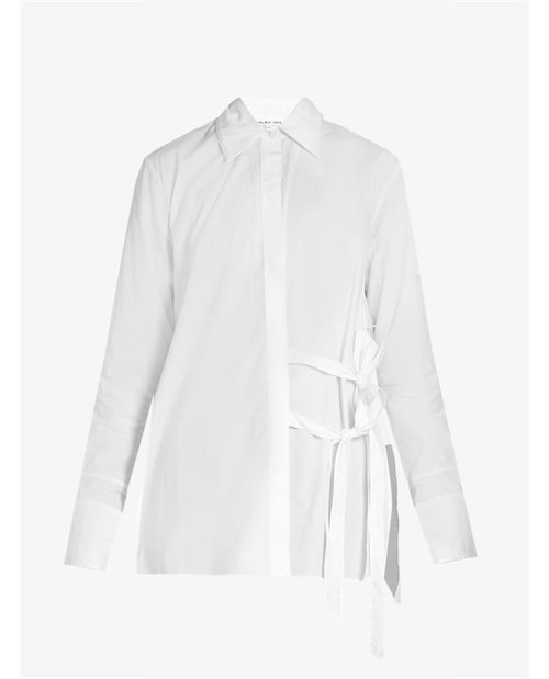 Helmut Lang Tie-front cotton-poplin shirt $449