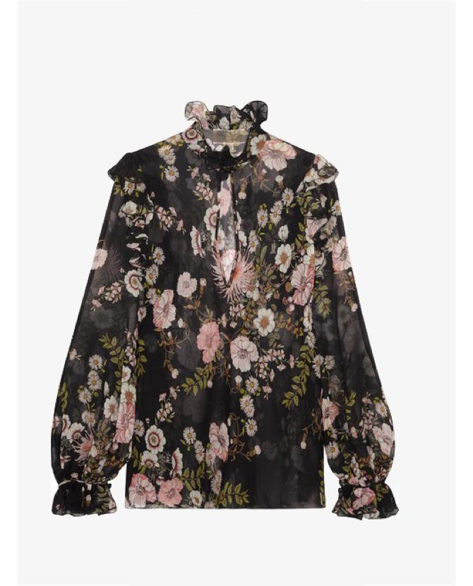 Giambattista Valli Ruffled floral-print silk-georgette blouse $1,028