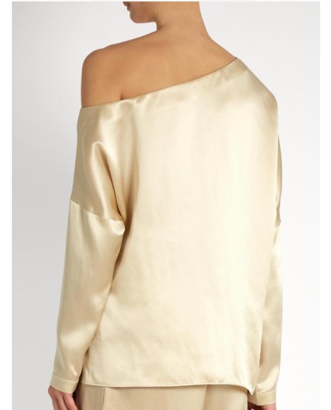 Tibi Asymmetric silk-satin top $485