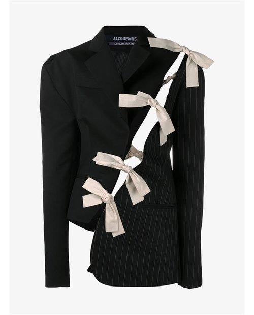 Jacquemus Cutout Embellished Wool Pinstripe Jacket $900