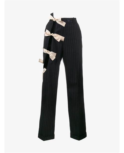 Jacquemus Cutout Embellished Wool Pinstripe Trousers $595