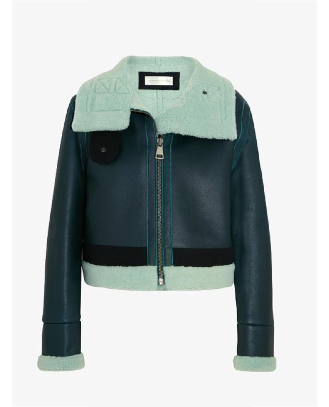 Victoria, Victoria Beckham Shearling-trimmed leather jacket $2,588