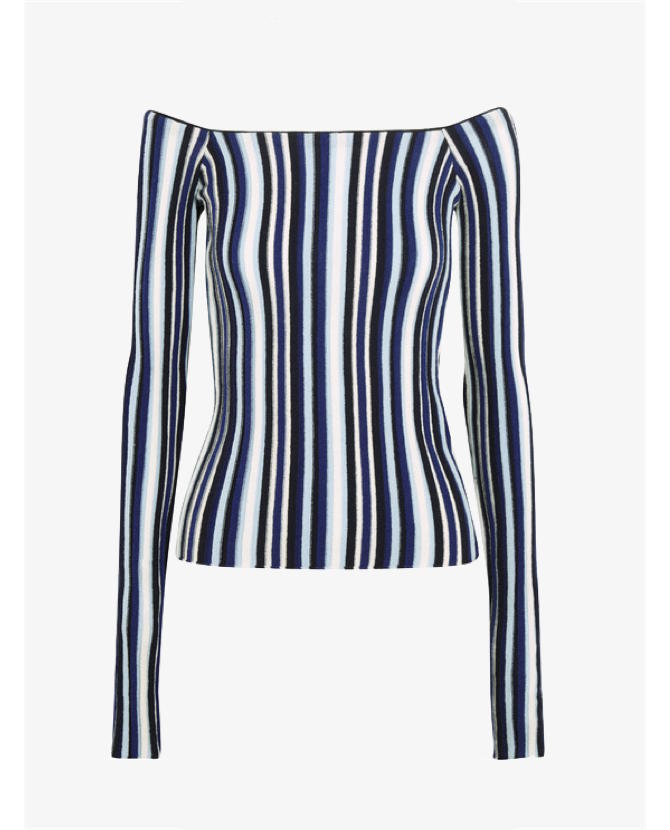 Jacquemus Off-the-shoulder striped ribbed wool sweater $488