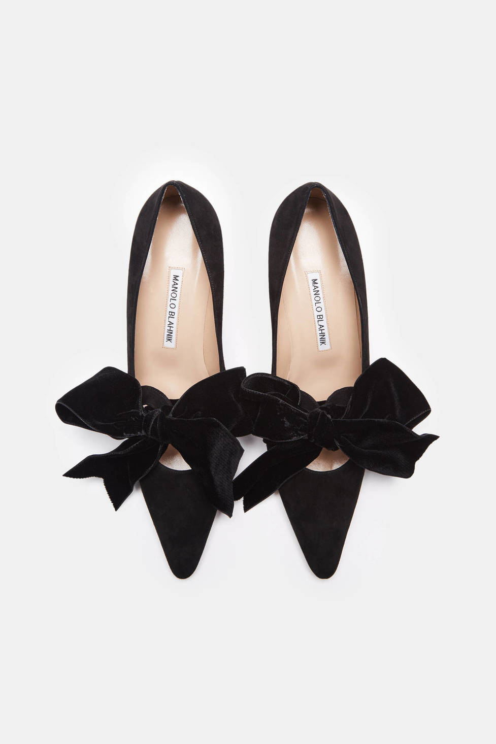 Manolo Blahnik Serba Pump in Black Suede/Velvet Bow $865