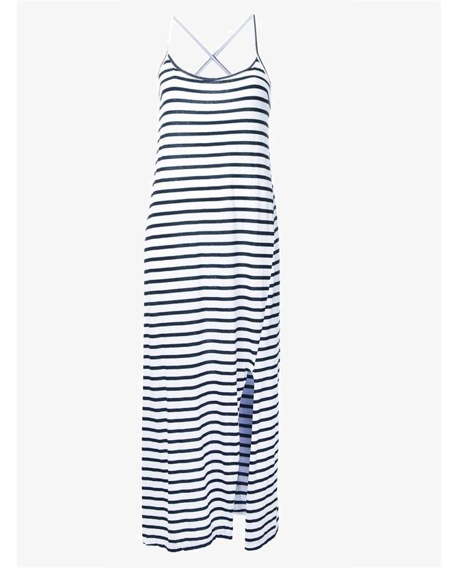 Bassike striped crossover back dress $150