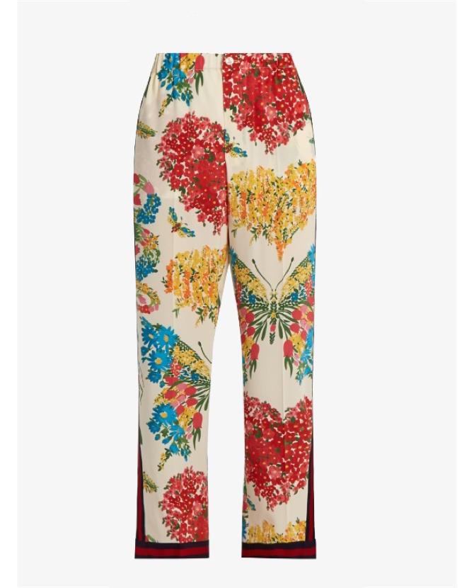 Gucci Corsage-print silk crepe de Chine trousers $1,164