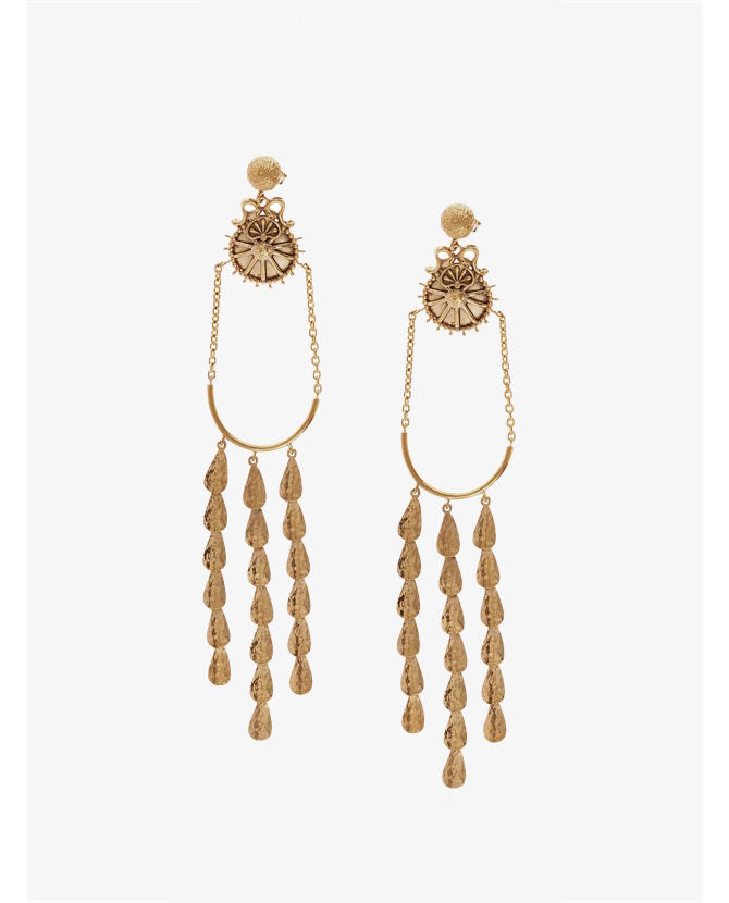 Sophia Kokosalaki Gold Delta Lyra Drop Earrings $550