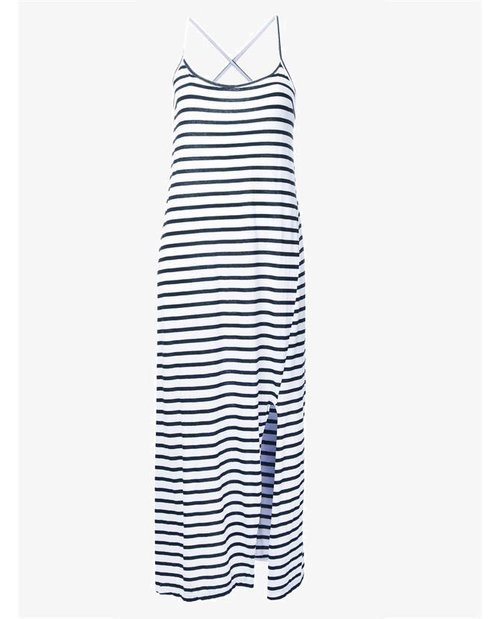 Bassike striped crossover back dress $150