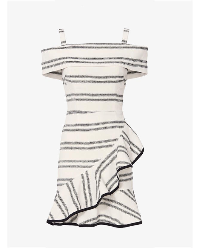 Rebecca Valance Cut Out Back Striped Ruffle Dress   $712