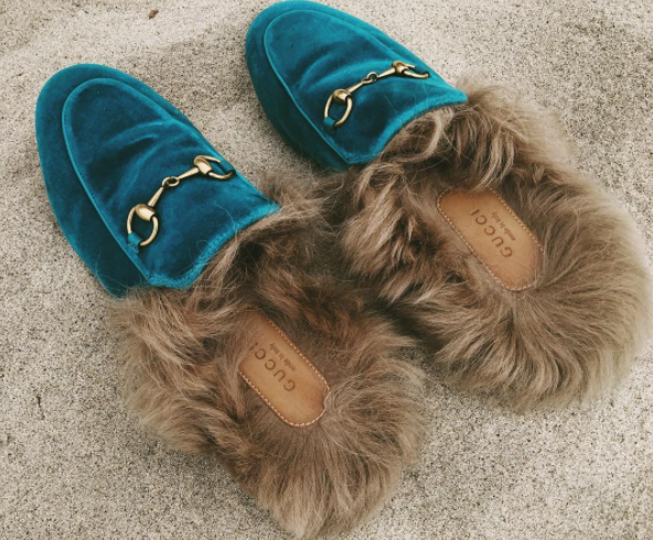 Gucci Princetown fur-lined velvet slippers (as seen on Courtney Trop @alwaysjudging) $865