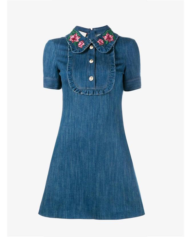 Gucci Embroidered collar denim dress $1,545