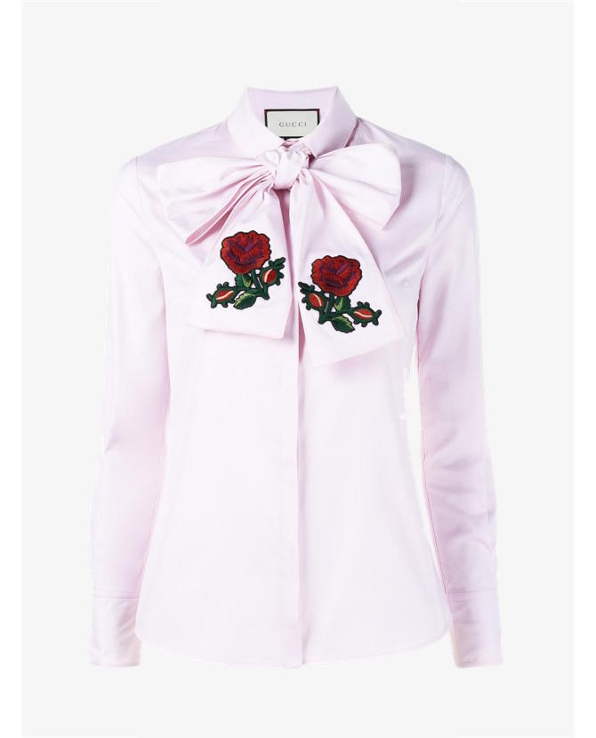 Gucci Embroidered oversized bow shirt $950