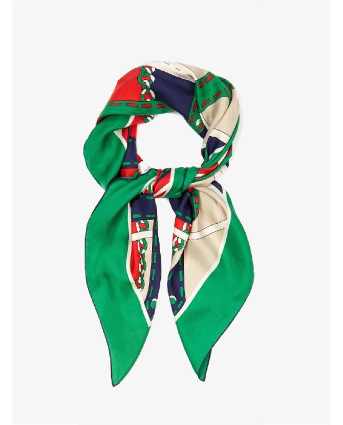 Gucci Argyle chain-print silk-twill scarf $381