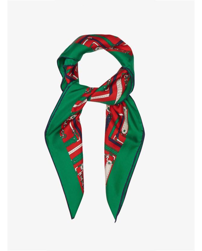 Gucci Argyle-print silk-twill scarf $243