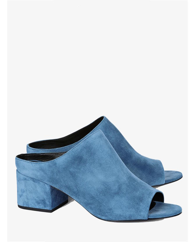 3.1 Phillip Lim French Blue Suede Cube Mules $330