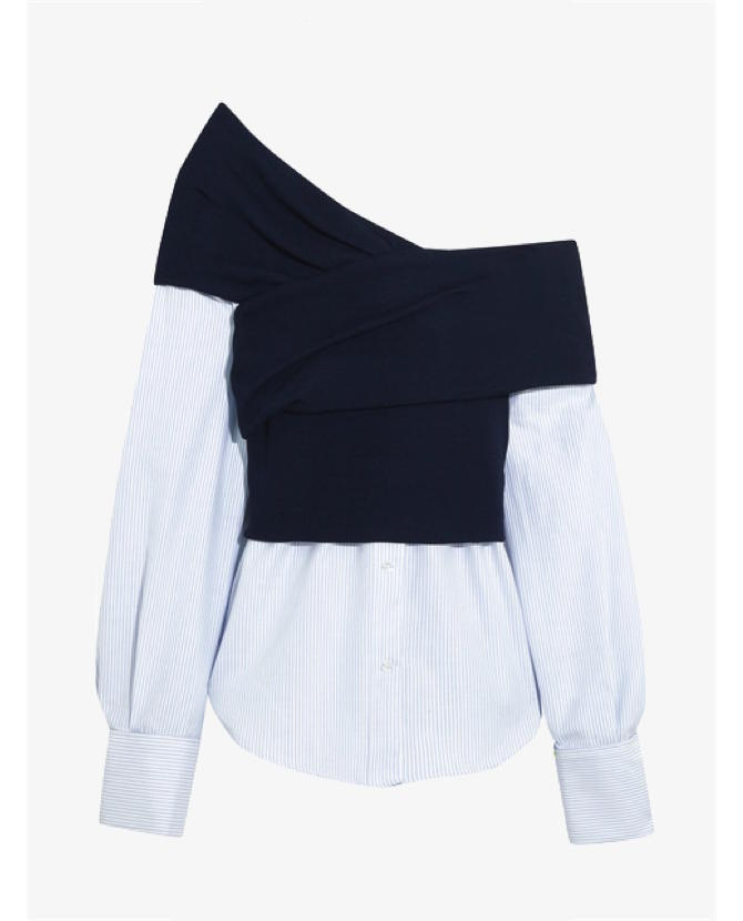 Jacquemus One-shoulder striped cotton-poplin and ribbed-knit top $525