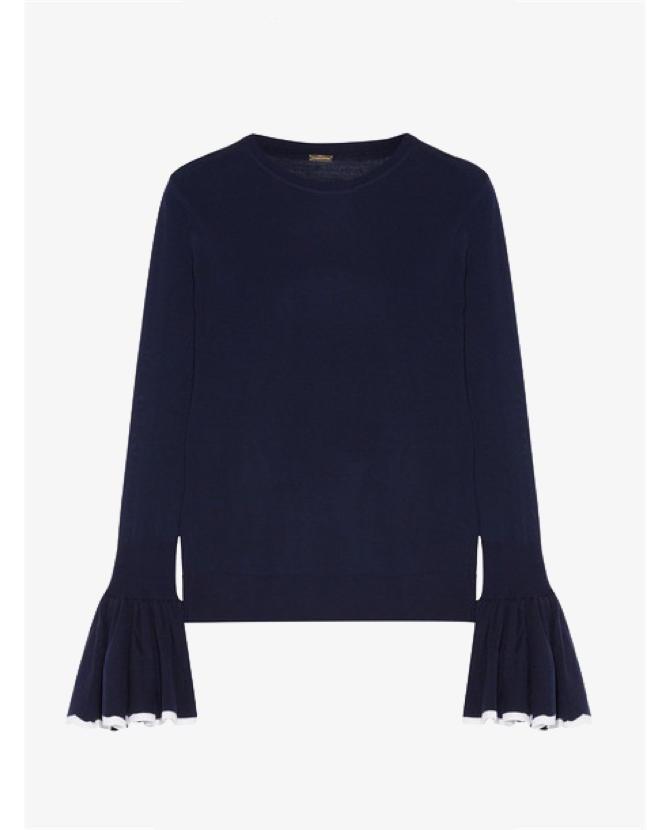 Adam Lippes Ruffled two-tone merino wool sweater $960