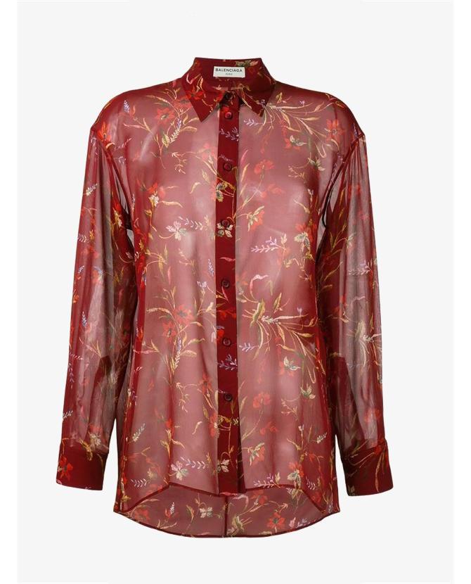 Balenciaga Floral Print Sheer Shirt $1,414