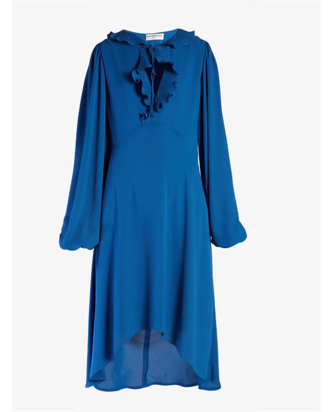 Balenciaga Ruffled tie-neck midi dress $2,295