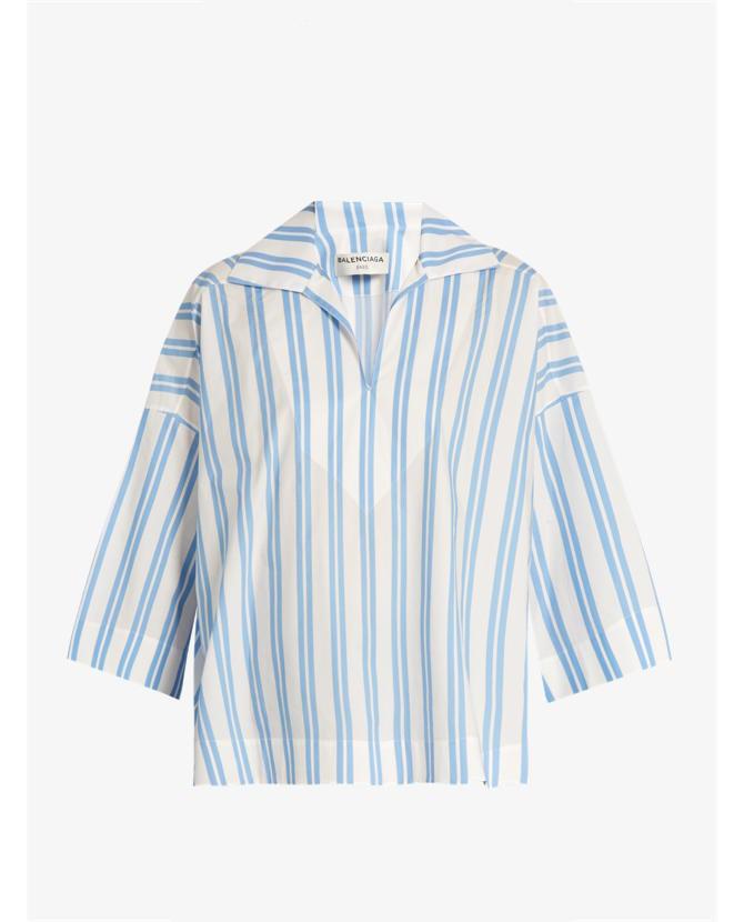 Balenciaga Striped V-neck cotton blouse $1,065