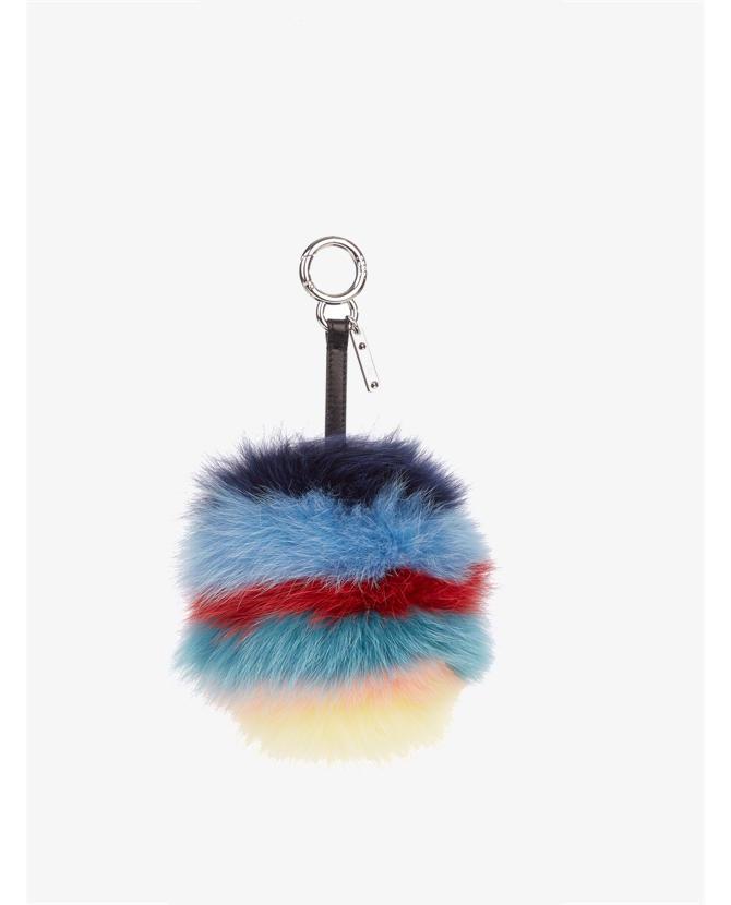 Fendi Rainbow pompom fox-fur key fob $870