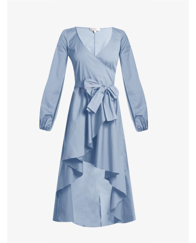 Caroline Constas Lena asymmetric-hem cotton-blend wrap dress $803