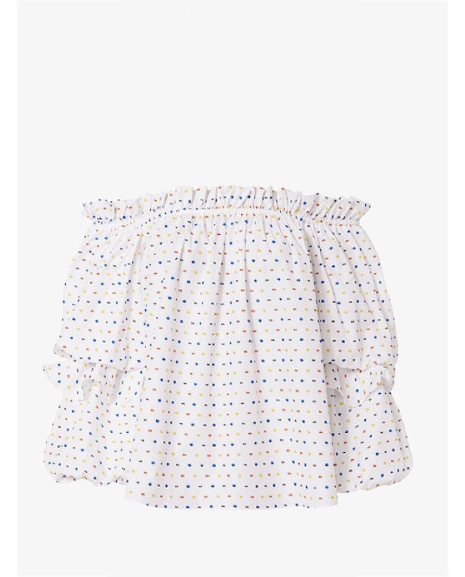 Caroline Constas Gia Embroidered Dot Off-The-Shoulder Top $543