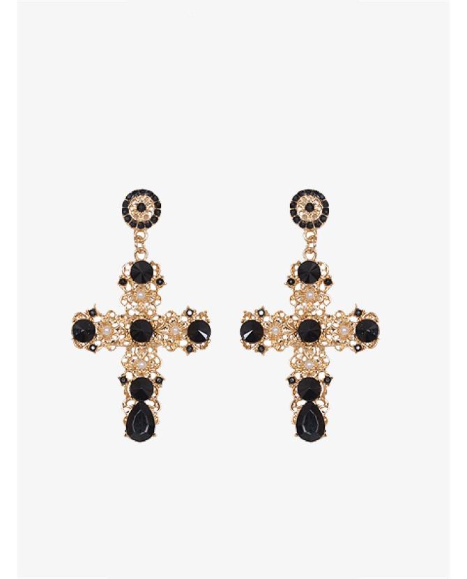 Husk Antalya black cross earring $189