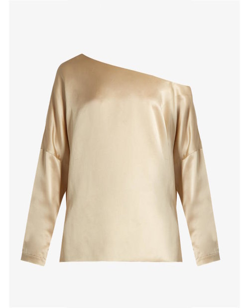 Tibi Asymmetric silk-satin top $485