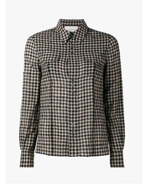 Gucci Floral embroidered check shirt $1,495