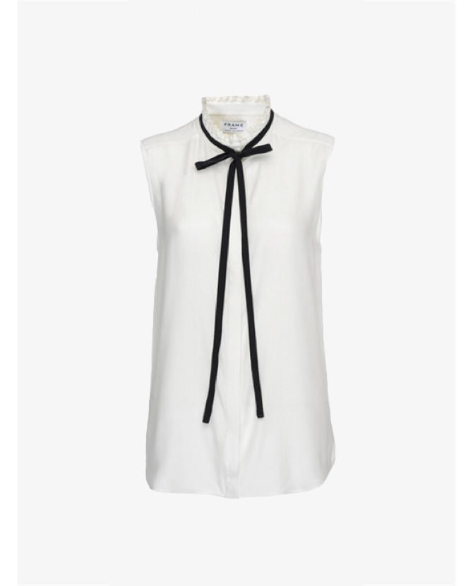 Frame Ruffle neck sleeveless blouse $229