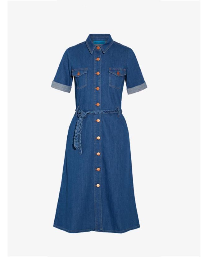 M.i.h Jeans Belted stretch-denim shirt dress $266