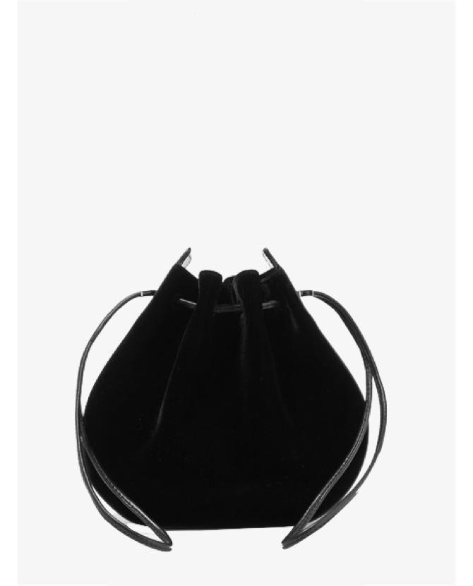 Vanessa Seward Caprice patent leather-trimmed velvet shoulder bag $437