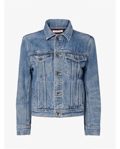 Helmut Lang Shrunken Denim Jacket with Plaid Lining $701