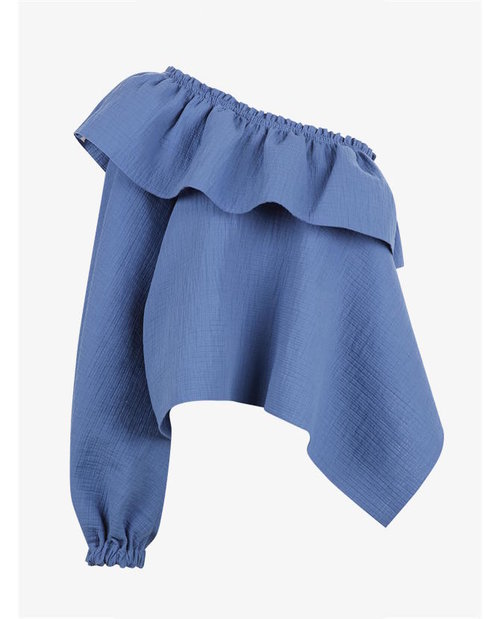 Rachel Comey Azure Cotton One Shoulder Georgia Top $510