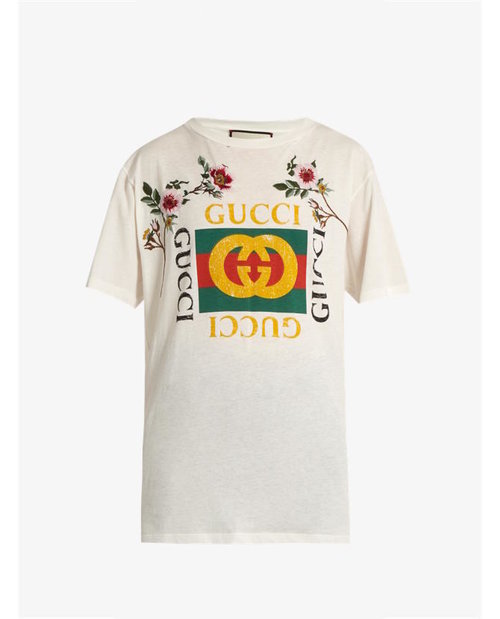 Gucci Distressed and embroidered logo T-shirt $667