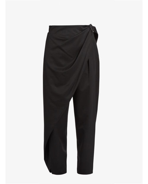 Issey Miyake Wrap-side wool-twill trousers $831