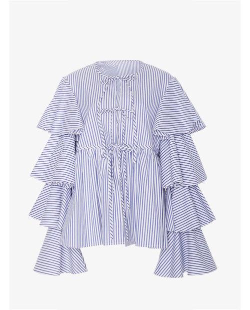 Caroline Constas Nina Ruffle Lace Up Jacket $595