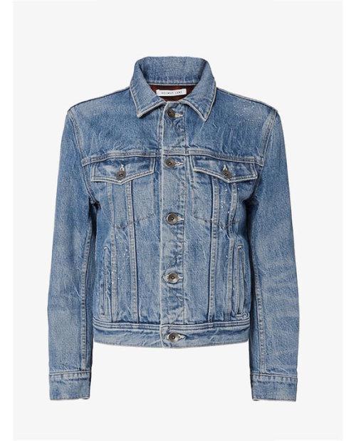 Helmut Lang Shrunken Denim Jacket with Plaid Lining $701